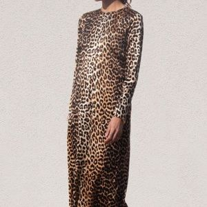 NWT Ganni leopard print silk long sleeve dress US8